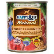 Happy&Fit Natural Senior Lamm&Rind mit Haferflocken&Leinöl 800g
